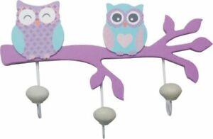 OWL WOODEN COAT HOOK DOOR HAT WALL HANGER nursery woodlands 3 hooks purple blue
