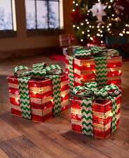Set of 3 Green Red Gift Boxes Presents Lighted Christmas Decorations Home Decor