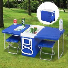 Camping Picnic Table Cooler Chair Set Beach Folding Hunting Fishing Rolls Travel