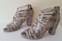 Ladies M&S size UK 4.5 wide fit GLADIATOR beige SNAKESKIN sandals FREE POST