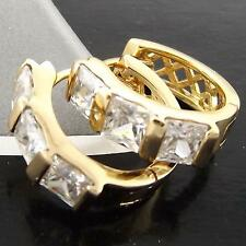 HOOP HUGGIE EARRINGS REAL 18K YELLOW G/F GOLD DIAMOND SIMULATED DESIGN FS3A003