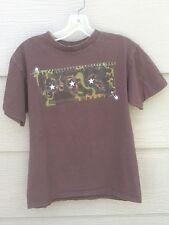Mad Engine Youth Boy T-Shirt Sz L Brown Motor Bike Scateboard Short Slve Shirt