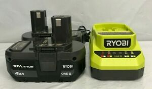 Ryobi PSK006 ONE+ 18V Lithium-Ion 4.0 Ah Battery (2-Pack) and Charger Kit, LN