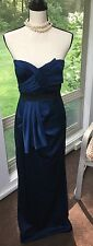 BCBG MAX AZRIA Steel Blue Strapless Dress Gown Long Formal Women's Size 6 Train