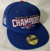 NEW ERA CHICAGO CUBS SZ 7 5/8 WORLD SERIES CHAMPIONS 59FIFTY HAT $40 RETAIL DS
