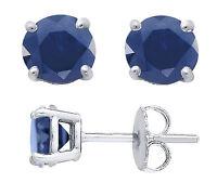 Genuine Blue Sapphire Basket Set Sterling Silver Stud Earrings, Round 3,4 or 5mm