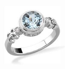 Aguamarina Anillo & Diamante Detalle .925 Plata de Ley con Piedra Preciosa