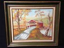 Original Oil Painting Old Bridge Country Trees Signed Sharon Boyle #142