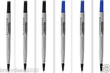 Parker Roller Ball Pen Rollerball Refills 3 Blue + 3 Black Ink, 0.7mm Medium Tip