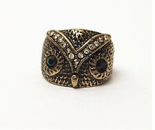 Free Shipping Vintage Style Bronze Alloy Cute black Rhinestone Eye Owl Ring