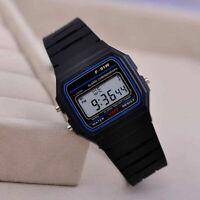 F-91W LED Digital Wristwatch Silicone Band Strap Sports Watch Alarm Kids Gift