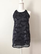 NWT Kenar Top SizeS Blouse Navy Blue Gray Silver Thread Shimmer Sparkle Liner