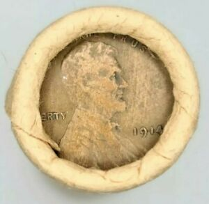 ( 1914-P / TAILS )  Lincoln Wheat One Cent USA Penny ORIGINAL BANK WRAPPED ROLL