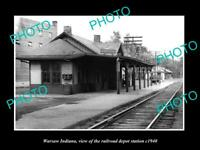 OLD POSTCARD SIZE PHOTO OF WARSAW INDIANA THE RAILROAD DEPOT STATION c1940