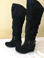 $249 EARTHIES 6 Raphaelle Black Comfort Suede Leather Above Knee Wedge Boots