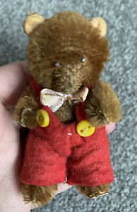 """Antique Mini Jointed Teddy Bear 3"""" Tall - Dark Brown Mohair Red Overalls Germany"""