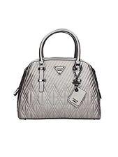 Authentic Guess Handbag Eddie Satchel, Pewter VM653406-PEW