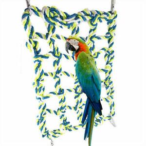 Parrot Pet Bird Net Swing Ladder Hanging Hammock Perch Toys Hamster Rope Cage
