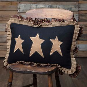 PRIMITIVE STARS Pillow Rustic Primitive Cabin Applique Star Plaid Mustard/Black