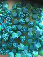 PATE FIMO TURQUOISE & VERT ROSE PERLE 12 x 8 mm env. 20 x