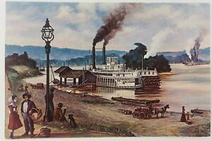 Vintage Marietta Wharf in 1882 by Artist William E. Reed with EMMA GRAHAM Ship