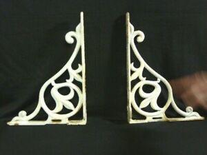 Two Heavy  Matching Vintage White Porcelain Art Deco Corbels Shelf Brackets