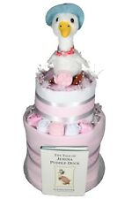 BABY GIRL TWO 2 TIER NAPPY CAKE JEMIMA PUDDLEDUCK TOY AND BOOK BABY SHOWER GIFT