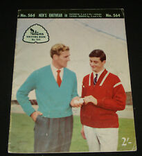 VINTAGE 1950s  PATONS KNITTING BOOK  #564  MENS  , CASUAL TOPS JUMPERS