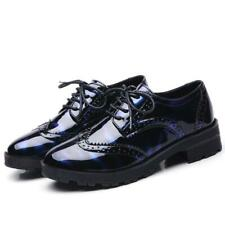 Womens Brogue Oxford Lace Up British wingtip carved Casual Shiny preppy Shoes