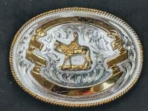 Gold Trim Silver Filigree Western Pleasure Rail Trail Horse Fancy Trophy Buckle