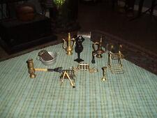 Vintage Brass Cast Iron & Metal Dollhouse Miniatures Decor Lot Of 14 Items