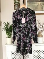 Ted Baker Duclin Fortune Sleeve Mini dress RRP £159 Size 3 UK 12 Floral Shirt