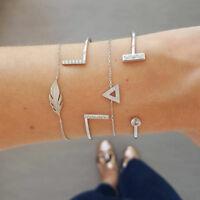 Women Geometric Triangle Leaves Shape Bangle Jewelry Banquet Accessories JA