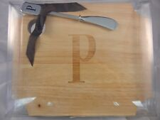 Mud Pie Wood Cheese Cutting Board with Spreader - Letter P Monogram #260214 NIB