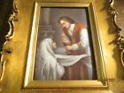 ANTIQUE+VICTORIAN+HAND+PAINTED+PORCELAIN+FRAMED+PAINTING+OF+PRIEST+COMMUNION++