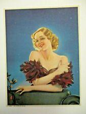 Original 1930's ALBERTO VARGAS-blonde glamour pinup calendar print-EVENING STAR
