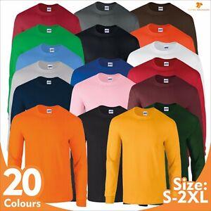 Gildan Men Ultra Cotton Long Sleeve T-Shirt Classic Rib Tee Adult Jersey Tee Top