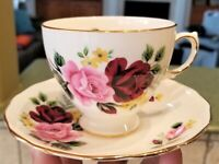 England QUEEN ANNE TEA CUP & SAUCER SET Bone China Ridgway Potteries ROSES Vtg