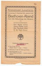 LAUPHEIM Kronensaal / Beethoven-Abend * Programm 1920