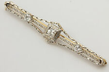 Antique Diamond 14k Gold Floral Etched Estate Pin Brooch Jewelry 0.45 CTW NICE