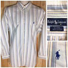 Ralph Lauren Blaire Button Up Dress Short Sleeve Striped Shirt White Baby Blue L