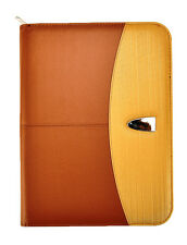 A4 Deluxe Professional Portfolio Folder With Calculator&Pad- Brown Gold CL-821