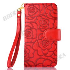 Deluxe 3D Rose Flower Embossing PU Leather Wallet Case Cover For iPhone Samsung