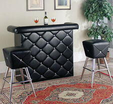 NEW 3PC ZYLAH CONTEMPORARY TUFTED BLACK BYCAST LEATHER BAR COUNTER SET w/STOOLS
