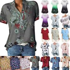 Womens Summer Floral Short Sleeve T-Shirts Ladies Casual Baggy Tunic Blouse Tops