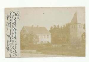 AK Wohnhaus mit Kirche, gelaufen Rodt Müllenbach bei Marienheide 1903 (55428)