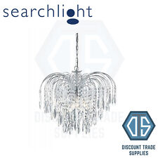 4175-5 SEARCHLIGHT WATERFALL CHROME 5 LIGHT CEILING FITTING WITH CRYSTAL BUTTONS