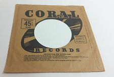 Coral Records Company 45 RPM Vinyl Record Sleeve Unbreakable