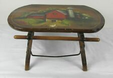 THE BEST 19TH C WOODEN FOOT STOOL IN GREAT FOLK ART PAINTED DECORATION