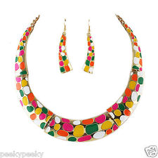 HOT Vintage Gold Plated Choker Necklace Earrings Jewelry Set Charm Women Fashion